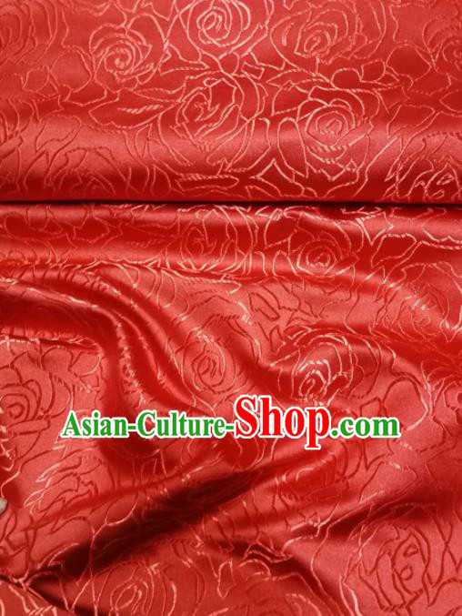 Asian Chinese Classical Roses Pattern Design Red Brocade Fabric Traditional Tang Suit Satin Drapery Silk Material