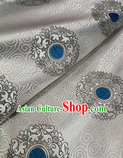 Asian Chinese Classical Pattern Design White Brocade Fabric Traditional Tang Suit Satin Drapery Silk Material