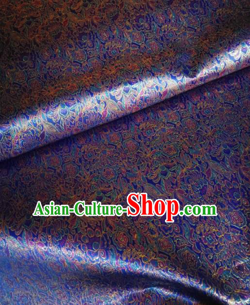 Asian Chinese Classical Royal Pattern Design Violet Brocade Fabric Traditional Tang Suit Satin Drapery Silk Material