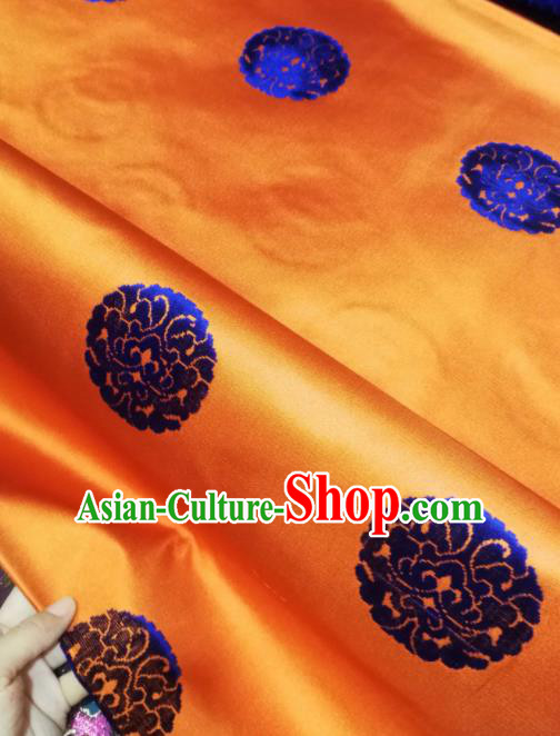 Asian Chinese Classical Royal Pattern Design Orange Brocade Fabric Traditional Tang Suit Satin Drapery Silk Material