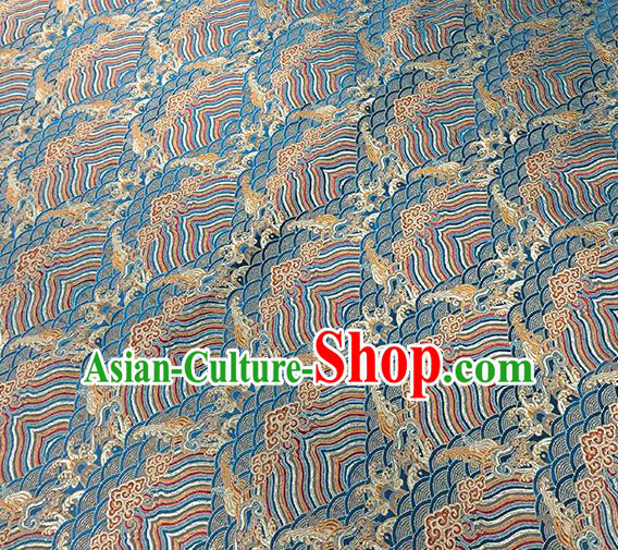Traditional Chinese Classical Waves Pattern Design Fabric Blue Brocade Tang Suit Satin Drapery Asian Silk Material