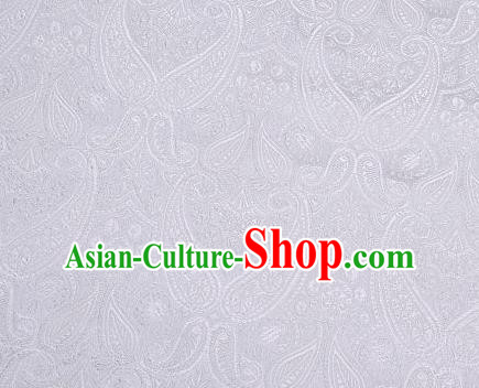 Asian Chinese Fabric Light Grey Satin Classical Loguat Pattern Design Brocade Traditional Drapery Silk Material