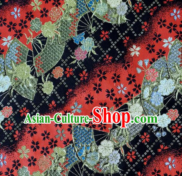 Asian Japanese Kimono Fabric Classical Fan Pattern Design Black Brocade Traditional Drapery Silk Material