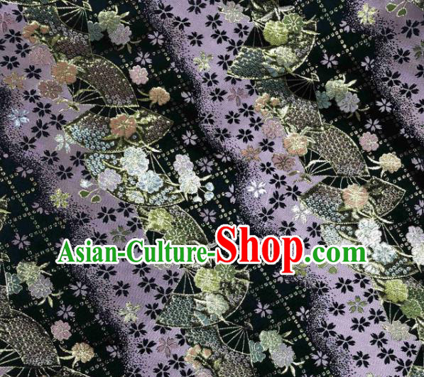 Asian Japanese Kimono Fabric Classical Fan Pattern Design Purple Brocade Traditional Drapery Silk Material