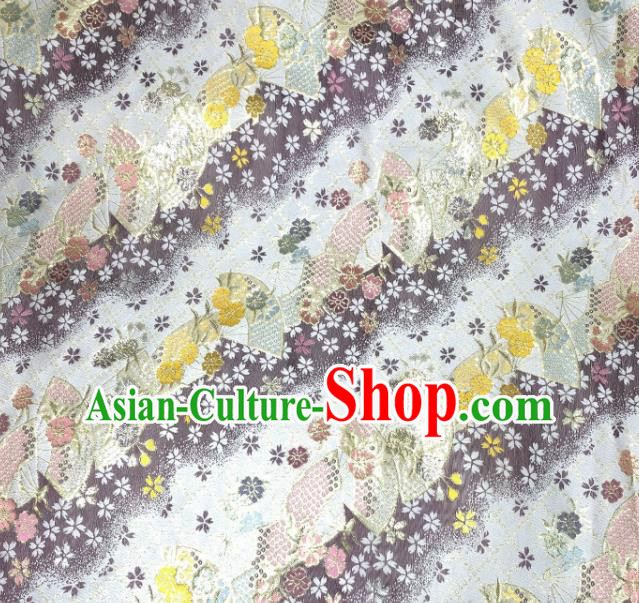 Asian Japanese Kimono Fabric Classical Fan Pattern Design White Brocade Traditional Drapery Silk Material