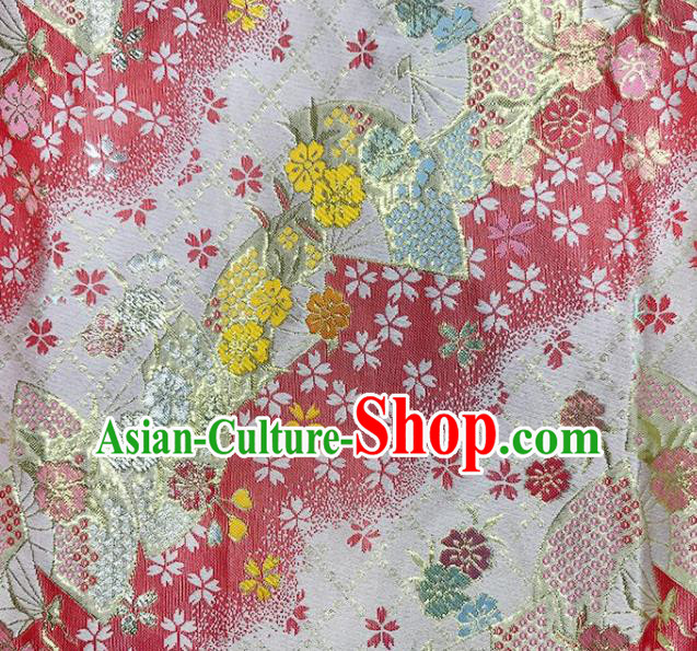 Asian Japanese Kimono Fabric Classical Fan Pattern Design Pink Brocade Traditional Drapery Silk Material