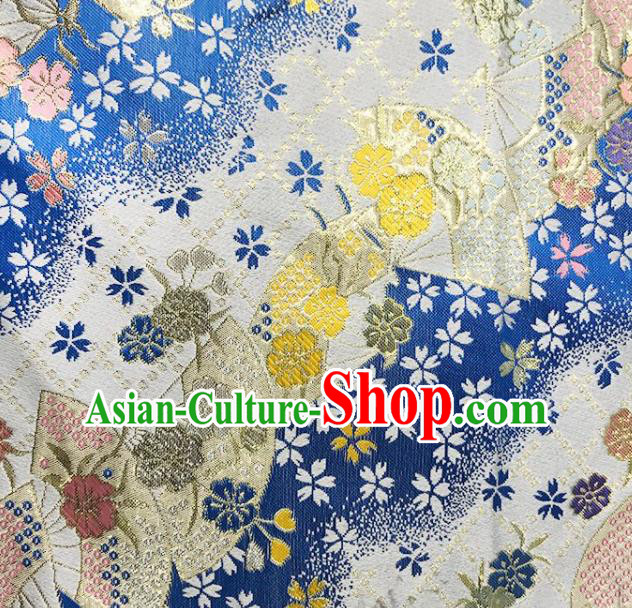 Asian Japanese Kimono Fabric Classical Fan Pattern Design Deep Blue Brocade Traditional Drapery Silk Material