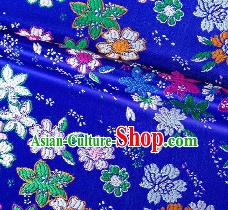 Asian Japanese Kimono Fabric Classical Flowers Pattern Design Royalblue Brocade Traditional Drapery Silk Material