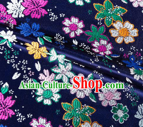 Asian Japanese Kimono Fabric Classical Flowers Pattern Design Navy Brocade Traditional Drapery Silk Material