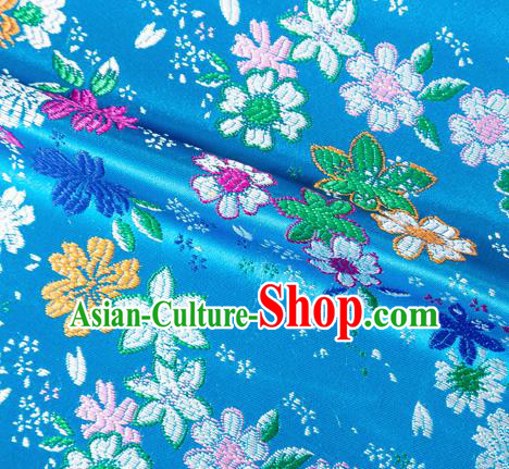 Asian Japanese Kimono Fabric Classical Flowers Pattern Design Blue Brocade Traditional Drapery Silk Material