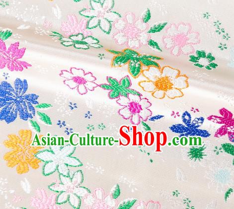 Asian Japanese Kimono Fabric Classical Flowers Pattern Design White Brocade Traditional Drapery Silk Material