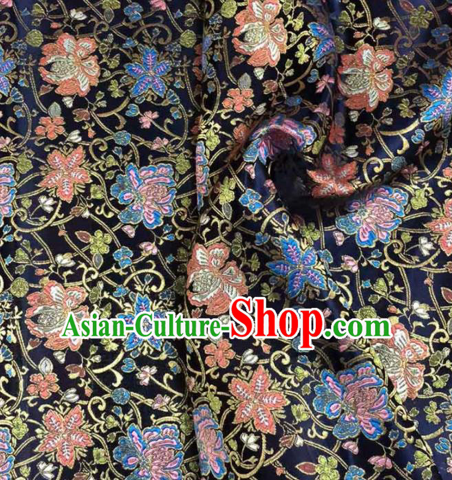 Asian Japanese Kimono Fabric Classical Tang Flowers Pattern Design Black Brocade Traditional Drapery Silk Material