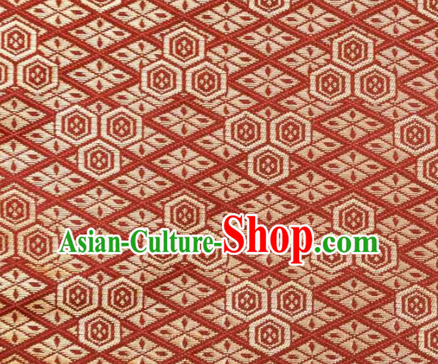 Asian Japanese Kimono Fabric Classical Pattern Design Red Brocade Traditional Drapery Silk Material