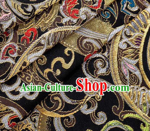 Asian Japanese Kimono Fabric Classical Pattern Design Black Brocade Traditional Drapery Silk Material