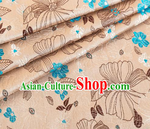 Asian Japanese Kimono Fabric Classical Pattern Design Champagne Brocade Traditional Drapery Silk Material