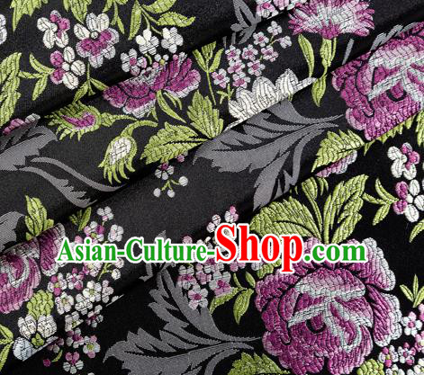 Asian Japanese Kimono Fabric Classical Peony Pattern Design Black Brocade Traditional Drapery Silk Material