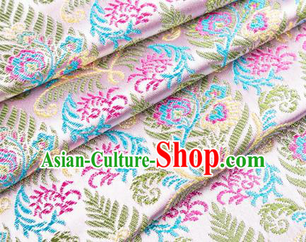 Asian Japanese Kimono Fabric Classical Pattern Design Pink Brocade Traditional Drapery Silk Material