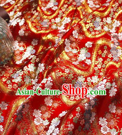 Asian Japanese Kimono Red Satin Fabric Classical Sakura Pattern Design Brocade Traditional Drapery Silk Material