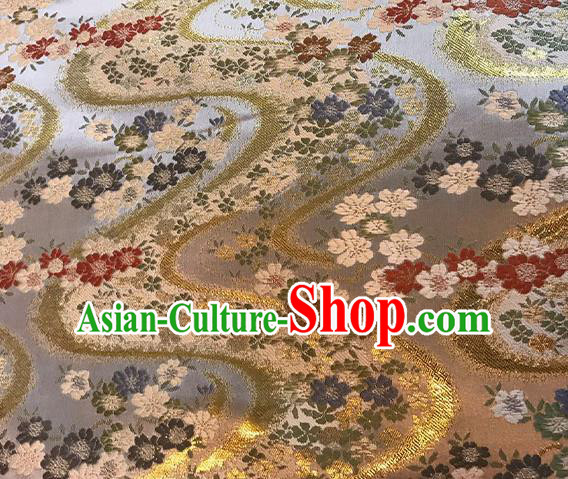 Asian Japanese Kimono Satin Fabric Classical Sakura Pattern Design Brocade Traditional Drapery Silk Material