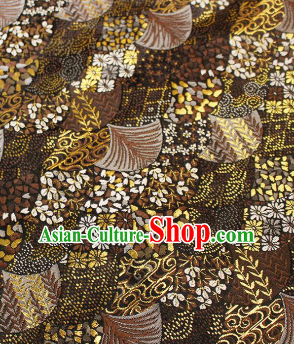 Asian Japanese Kimono Brown Satin Fabric Classical Fan Pattern Design Brocade Traditional Drapery Silk Material