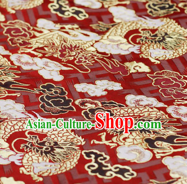 Asian Japanese Kimono Red Satin Fabric Classical Cloud Dragon Pattern Design Brocade Traditional Drapery Silk Material