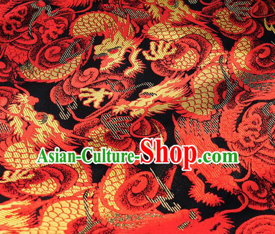 Asian Japanese Kimono Satin Fabric Classical Red Dragon Pattern Design Brocade Traditional Drapery Silk Material