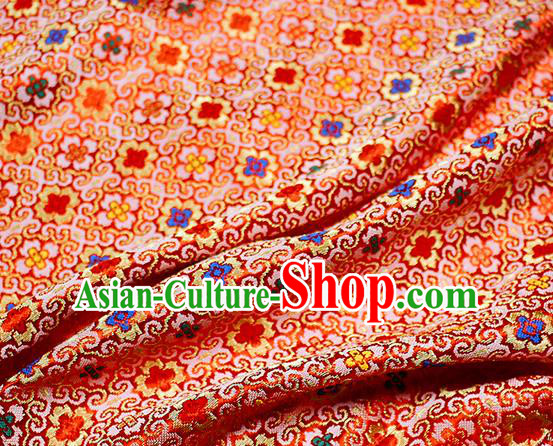 Asian Japanese Kimono Satin Fabric Classical Pattern Design Red Brocade Damask Traditional Drapery Silk Material