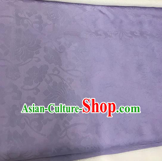 Chinese Tang Suit Purple Brocade Classical Lotus Pattern Design Satin Fabric Asian Traditional Drapery Silk Material