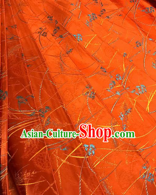 Chinese Tang Suit Orange Brocade Classical Pattern Design Satin Fabric Asian Traditional Drapery Silk Material