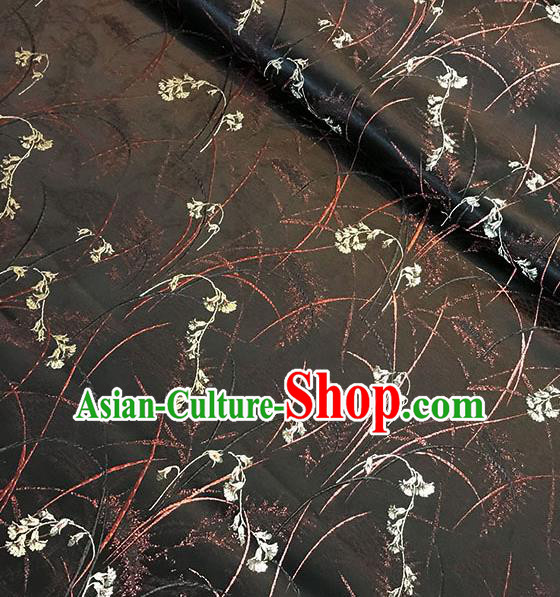 Chinese Tang Suit Black Brocade Classical Orchid Pattern Design Satin Fabric Asian Traditional Drapery Silk Material