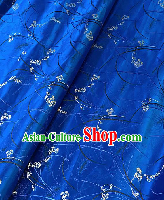 Chinese Tang Suit Royalblue Brocade Classical Orchid Pattern Design Satin Fabric Asian Traditional Drapery Silk Material