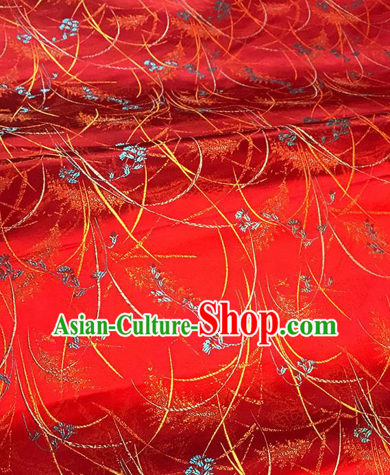 Chinese Tang Suit Red Brocade Classical Orchid Pattern Design Satin Fabric Asian Traditional Drapery Silk Material