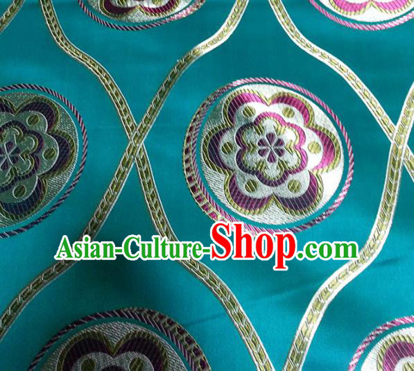 Chinese Classical Pattern Design Satin Fabric Tang Suit Green Brocade Asian Traditional Drapery Silk Material