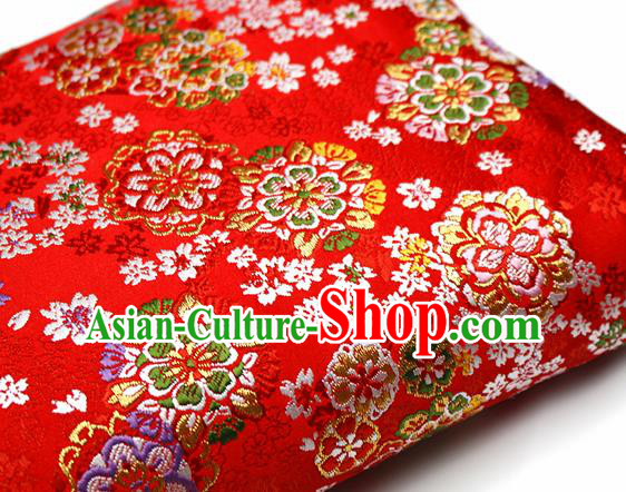 Asian Japanese Kimono Satin Fabric Classical Sakura Pattern Design Red Brocade Damask Traditional Drapery Silk Material
