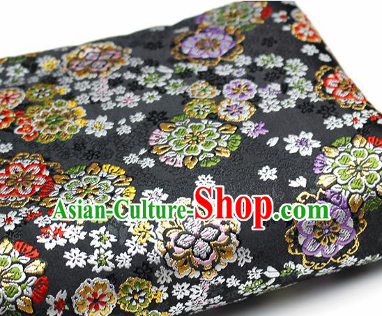 Asian Japanese Kimono Satin Fabric Classical Sakura Pattern Design Black Brocade Damask Traditional Drapery Silk Material