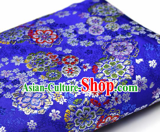 Asian Japanese Kimono Satin Fabric Classical Sakura Pattern Design Royalblue Brocade Damask Traditional Drapery Silk Material