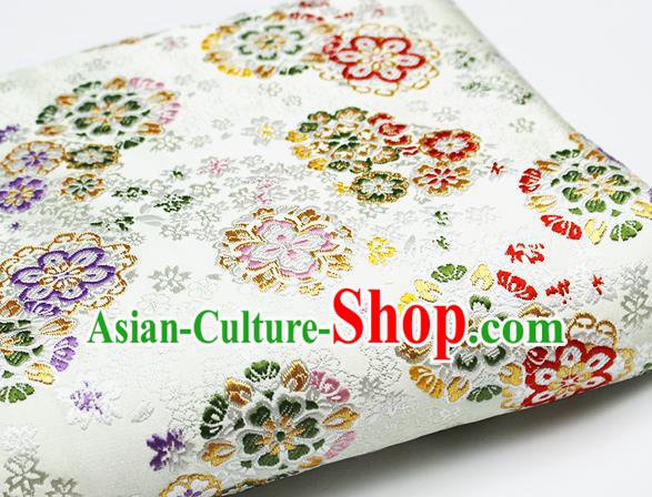Asian Japanese Kimono Satin Fabric Classical Sakura Pattern Design White Brocade Damask Traditional Drapery Silk Material