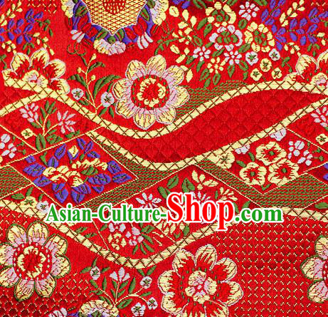 Asian Japanese Classical Flowers Pattern Design Red Brocade Kimono Satin Fabric Damask Traditional Drapery Silk Material