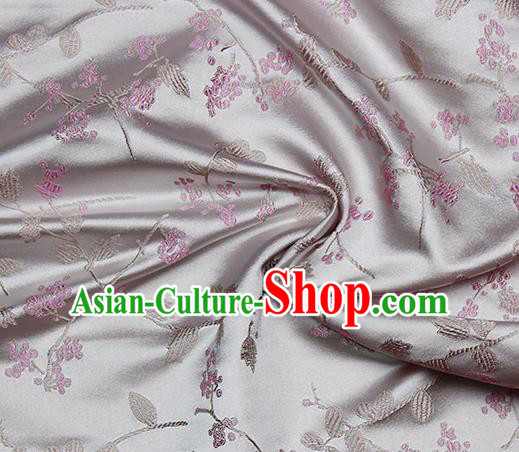 Chinese Classical Floral Pattern Design Grey Satin Fabric Brocade Asian Traditional Drapery Silk Material