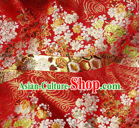 Asian Japanese Classical Sakura Pattern Design Red Brocade Kimono Satin Fabric Damask Traditional Drapery Silk Material