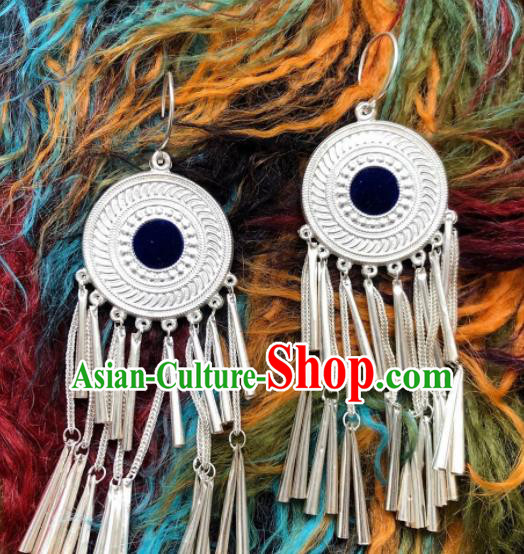 Chinese Traditional Zang Nationality Tassel Earrings Tibetan Ethnic Sliver Ear Accessories for Women