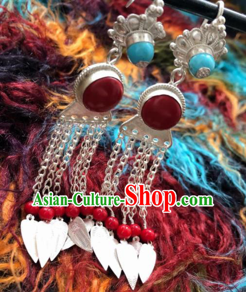 Chinese Traditional Zang Nationality Earrings Tibetan Ethnic Sliver Tassel Ear Accessories for Women