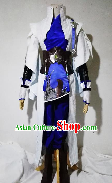 Chinese Traditional Cosplay Young Hero White Costume Ancient Swordsman Hanfu Clothing for Men