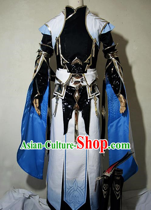 Chinese Traditional Cosplay Taoist Priest Royal Highness Costume Ancient Swordsman Hanfu Clothing for Men