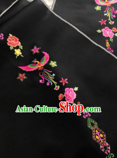 Traditional Chinese Embroidered Phoenix Peony Black Silk Fabric Classical Pattern Design Brocade Fabric Asian Satin Material
