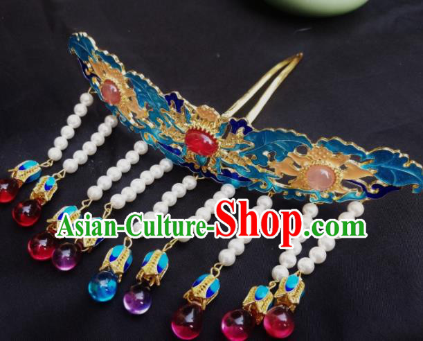 Chinese Ancient Palace Princess Tassel Hairpins Blueing Hair Clip Traditional Hanfu Hair Accessories for Women