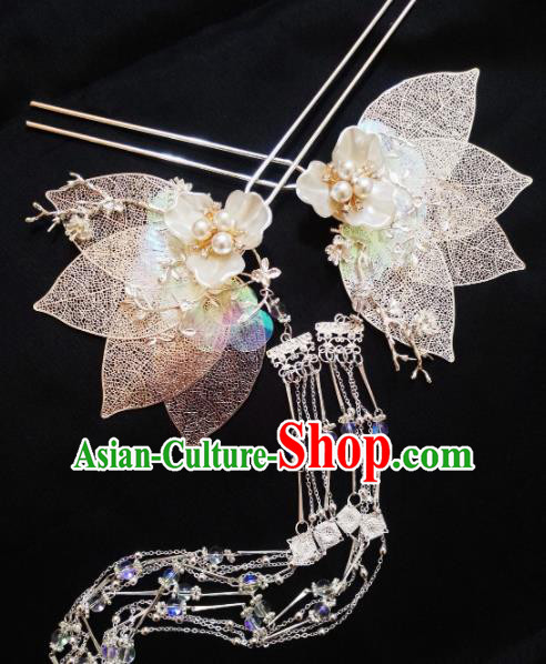 Chinese Ancient Princess Hairpins Palace Leaf Tassel Hair Clip Traditional Hanfu Hair Accessories for Women