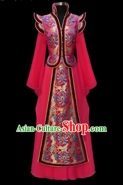 Traditional Chinese Mongol Ethnic National Rosy Brocade Dress Mongolian Minority Folk Dance Costume for Women