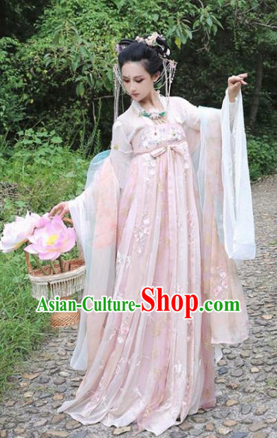 Chinese Traditional Tang Dynasty Imperial Consort Hanfu Dress Ancient Tale Flower Goddess Replica Costume for Women