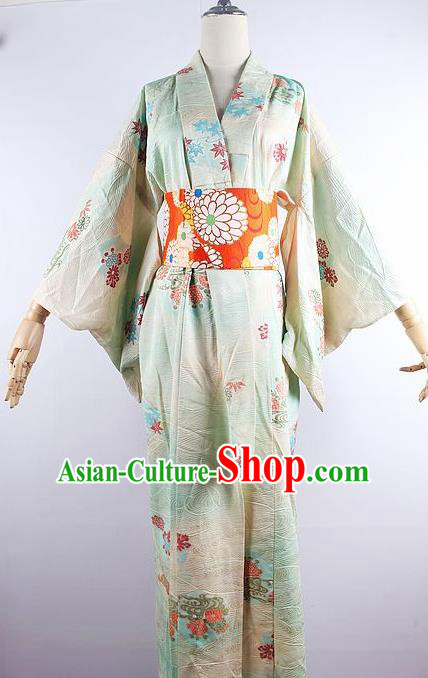 Japanese Ceremony Costume Printing Maple Leaf Green Silk Kimono Dress Traditional Asian Japan Yukata for Women